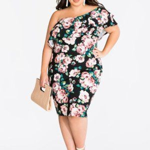 Ashley Stewart double ruffle one shoulder dress